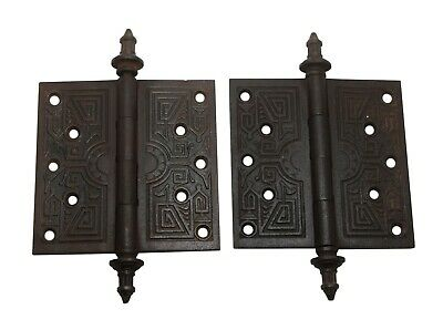 Aesthetic Pair of 5.5 x 5.5 Cast Iron Butt Door Hinges