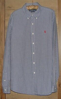 Genuine POLO by RALPH LAUREN Men's Checked SHIRT, Size XL Custom Fit, White/Blue