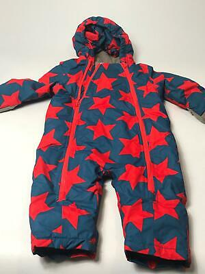 Boys Baby Boden Blue & Red Hooded Padded All In One Ski Pram Suit Age 12-18 Mths