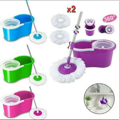 Microfiber Spinning Magic Easy Floor Mop with Bucket 2 Heads 360°Rotating Set