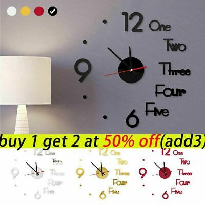 3D Large DIY Wall Clock Mirror Sticker Luxury Roman Number Art Home Decor Room