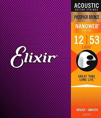 Elixir 92/8 Phosphor Bronze Acoustic Sets Ultra-Thin Nanoweb Coating - 12-53