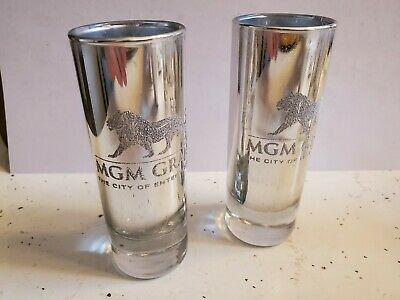 MGM Grand Shot Glasses (SET OF 2)   3 oz  (4 INCHES Tall) Chromed Etched  Raised