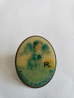 Vintage IOOF Odd Fellows Rebekahs Angels Among Us Lapel Pin Pinback Brooch