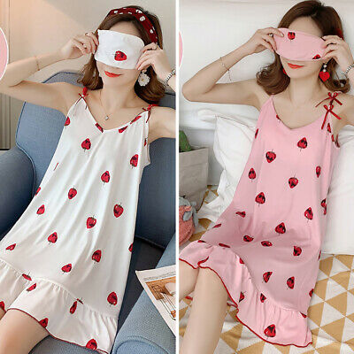 Women Sexy Lingerie Nightdress Summer Sweet Nightgown Cute Print Nightwear