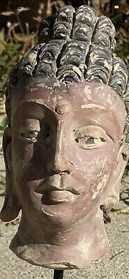 Beautiful Ancient Clay Buddha Statue Head With Metal And Wood Mount