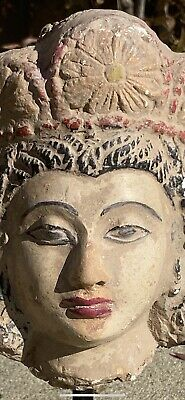 Beautiful Ancient Clay Goddess Statue Head With Flowers Metal And Wood Mount