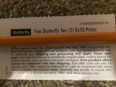Shutterfly Two(2)8x10 Prints Code Monopoly tickets AB4I -  Expire 06/30/2020