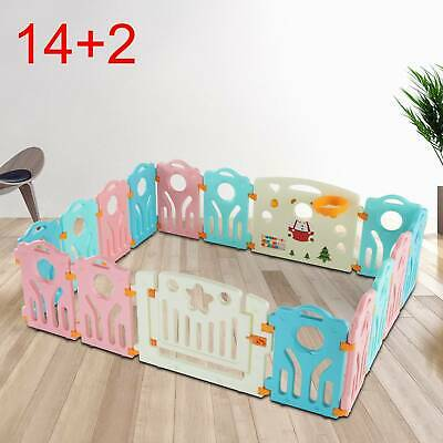 14+2 Large Foldable Plastic Baby Playpen Indoor& Outdoor With Optional Playmats