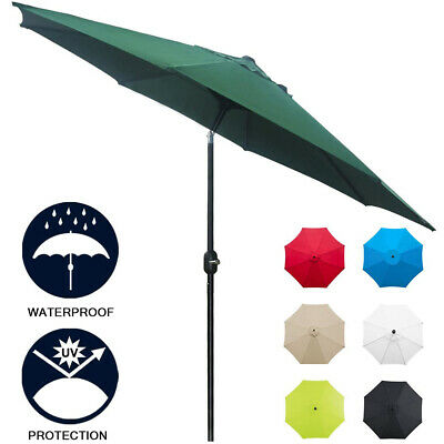 2.5m 2.7m 3m 4m Garden Parasol Patio Umbrella Round Outdoor Sun Shade Crank Tilt