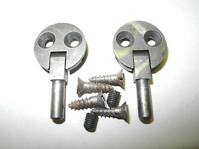Vintage Singer Sewing Machine Cabinet Head Pin Hinges 2 Hole Pewter Finish, Nice