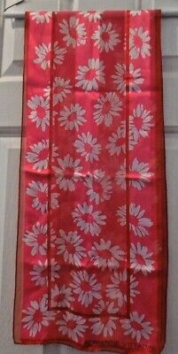 TERRIART Pink, White Floral, Hot Pink Border 52x11 Lg Scarf-Vintage - VITTADINI