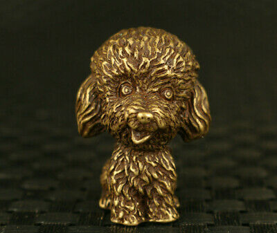 Chinese old bronze hand cast lovely dog Statue netsuke figure decoration
