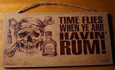 Rustic Pirate Skull Rum Sign Tiki Beach Bar TIME FLIES WHEN YE ARR HAVING RUM