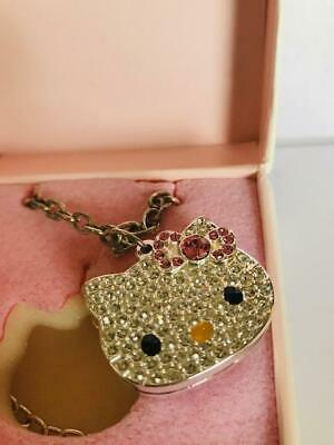 "Nib Full~ ""Hello Kitty- Crystal Cat"" Solid Perfume Compact Necklace"