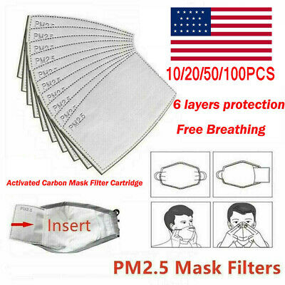 LOT PM2.5 Face Mask Filter Paper Pad Breath Filters Adults Activated Carbon