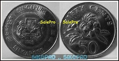 Singapore 1986 Asia Singapura Flowers Back Rare 50 Cent Coin