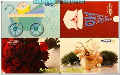 4x WALMART CHRISTMAS BABY SHOWER ST. VALENTINE'S DAY COLLECTIBLE GIFT CARD LOT