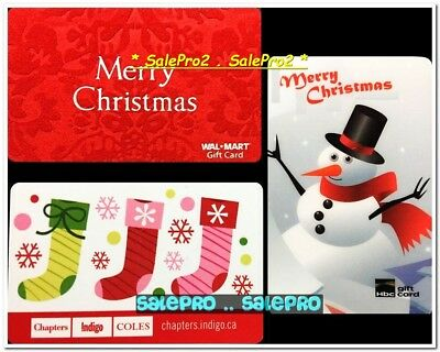 3x CHAPTERS WALMART HBC CHRISTMAS STOCKINGS SNOWMAN COLLECTIBLE GIFT CARD LOT