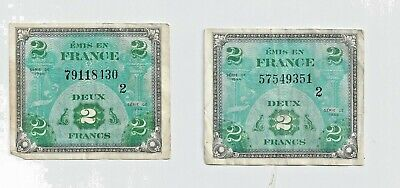 "France,""Allied Military Currency""2 Francs,1944,  Free shipping in the  USA"