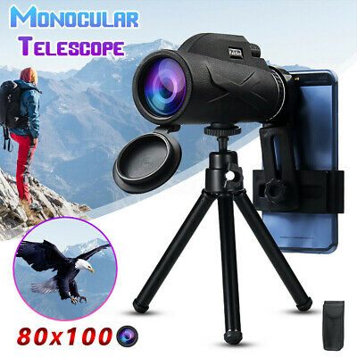 High Power 80x100 HD Monocular Telescope Shimmer Night Vision Outdoor Hiking