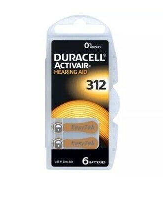 Duracell Activair Mercury Free Hearing Aid Batteries Size 312. 6 In a Pack.