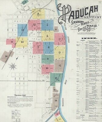 Paducha, Kentucky~Sanborn Map© sheets for 1885 to 1897~ 71 maps in full color