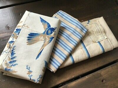 Antique Vintage French Fabric 3 piece pack bundles for projects Birds  Sewing