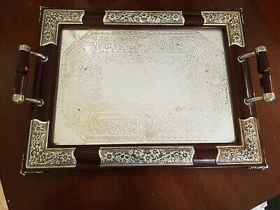 Vintage Wooden And Silver Plated Serving Tray