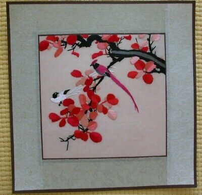 Chinese Hand embroidered suzhou Embroidery Brocade Mounted Artwork:Birds Flower