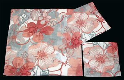3 Jakson ABSTRACT ROSES Diamond Waffle Texture Bath-1 /& Hand-2 Towels NEW