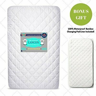 Pack N Play Crib Mattress Cover + Bonus Changing Pad Liner Included! –