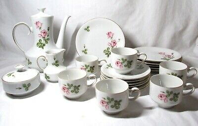 Winterling MOSS ROSE Design Coffee/Tea Set With Dessert Plates  Service For 6