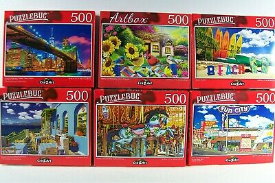Puzzles Lot Of Four 500 Pieces Each Cardianal & Crazart Family Kids FREE SHIP