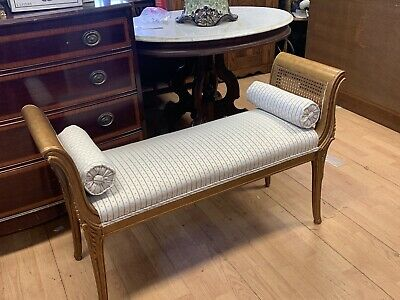 Antique French Style Gold Guilt  Window Bench  Bed Foot Bench Vanity Bench