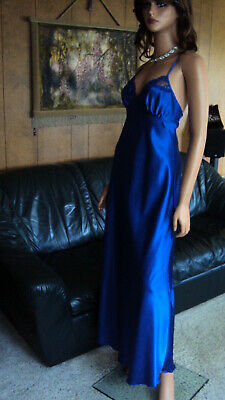 Shirley of Hollywood Blue Wet Looking Satin & Lace Long Charmeuse Nightgown SZ M