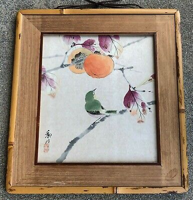 """OLD ORIGINAL VINTAGE JAPANESE """"BIRD and PERSIMMON"""" WATERCOLOR PAINTING ON PAPER"""
