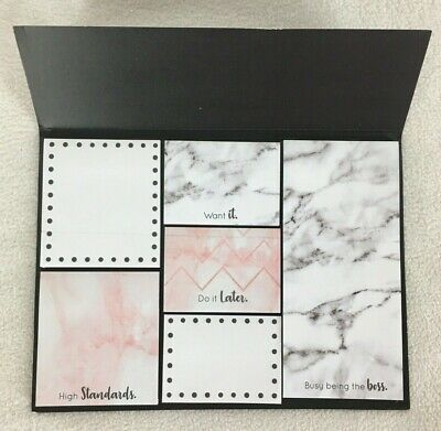 STICKY NOTES Think It Want It Write It Do It Pink & White Marble Set of 2 Packs