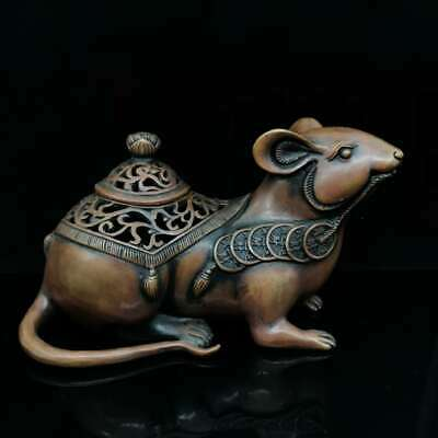 Collection Chinese Bronze Zodiac Animal Mouse Copper Coin Wealth Incense Burner