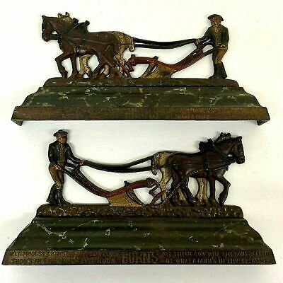 Antique Pair Cold Painted Chimney Ornament Farmer Horses Robbie Burns Verse
