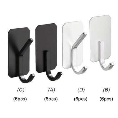 6pcs Self Adhesive Wall Hooks Stainless Steel Holder Hangers for Bedroom Kitchen