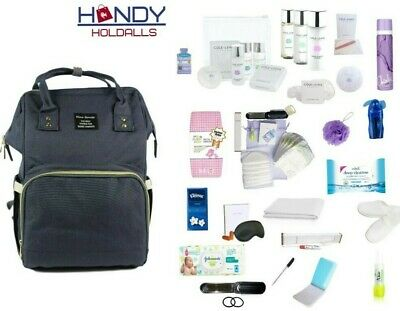 QUALITY BLUE Pre-Packed Maternity Hospital Baby Changing Bag & LUXURY Toiletries