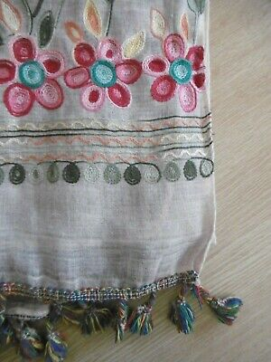 Beautiful summer weight embroidered flowers shawl scarf with tassels