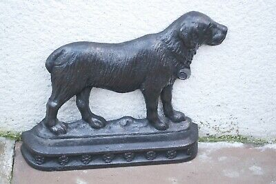 Antique Cast Iron Door Stop Reg Marked 50426 St Bernard Dog Right Face Victorian