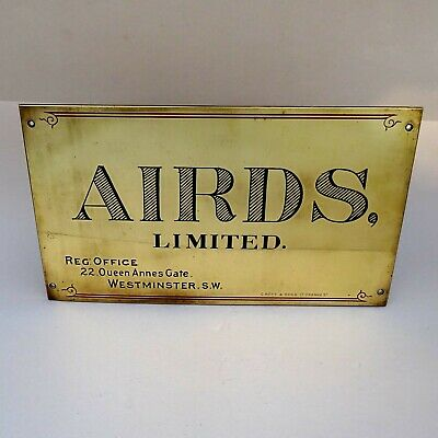 Vintage Office Name Plate ~ AIRDS Ltd Westminster London ~ Engraved Sign Plaque
