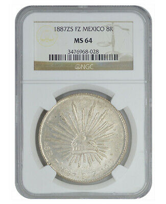 NGC MS64 1887 Zs FZ Mexico Silver 8 Reales