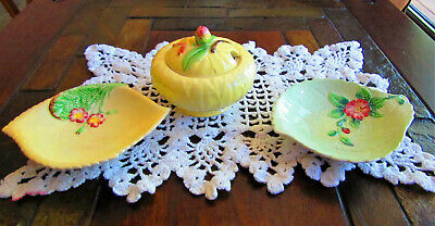 Vintage Carlton Ware, Condoment Container with 2 Lemon Style Plates, Cat Rescue