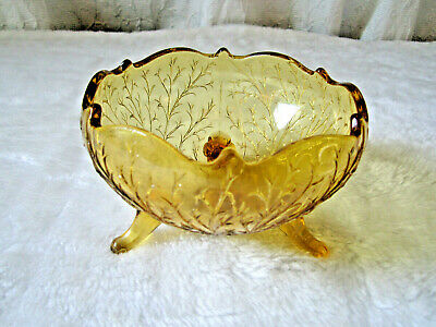Vintage Amber Glass 3 Footed Compote  Candy Dish  Mcm