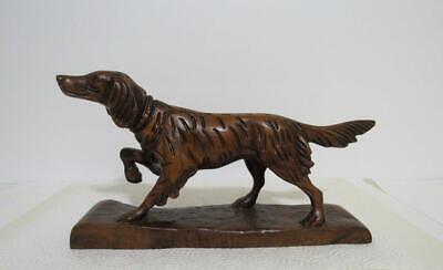 "Irish Setter antique hunting dog figure carved wood carving 11.25"" Black Forest?"