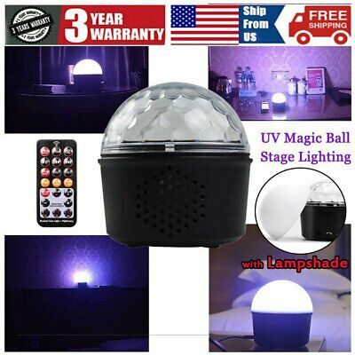 UV Bluetooth Speaker Disco Party LED Stage Light Crystal Magic Ball Lamp Remote